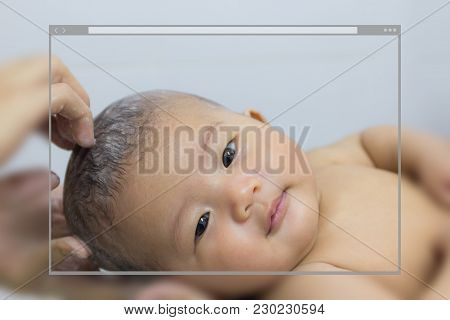Web Site Page Design Concept, Asian Cute Baby New Born Bathing With Hand Mother, Bathroom Background