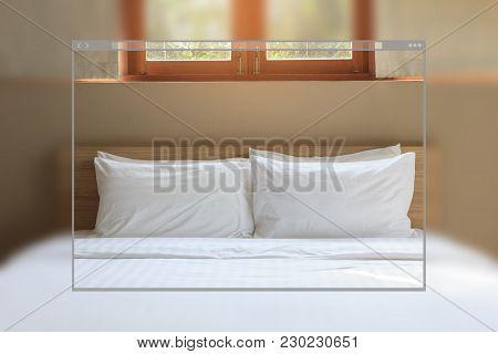 Web Site Page Design Concept, Vintage Bedroom Interior Background.