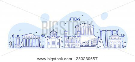Athens Skyline, Greece. This Illustration Represents The City With Its Most Notable Buildings. Vecto