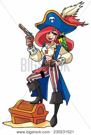 Full Length Funny Illustration Of A Beautiful Woman Wearing Pirate Costume While Holding A Pistol Ag