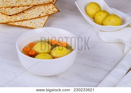 A Traditional Ashkenazi Jewish Soup With Matzo Balls, Made From A Mixture Of Matzah Meal, Chicken Bo