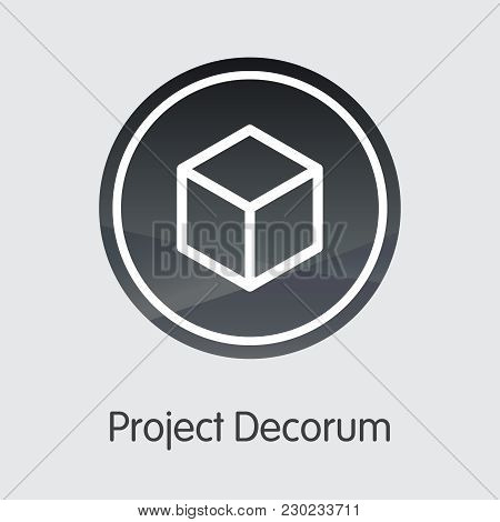 Project Decorum - Digital Currency Concept. Colored Vector Icon Logo And Name Of Digital Currency On