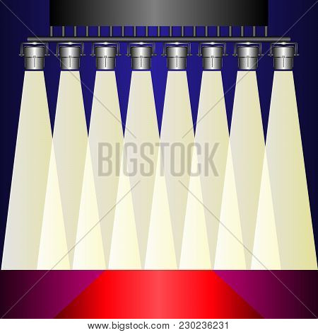 The Scene Is Illuminated By Searchlights. Vector Illustration