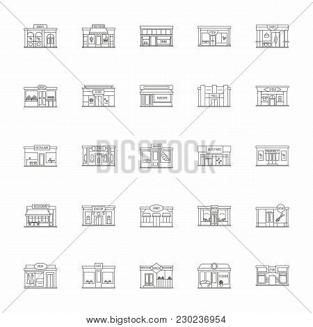 Modern Fast Food Restaurant And Shop Buildings, Store Facades, Boutiques With Pharmacy Outline Icons