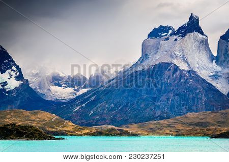 Torres Del Paine, Chile. Autumn Austral Landscape In Patagonia With Lago Pehoe And Cuernos Del Paine