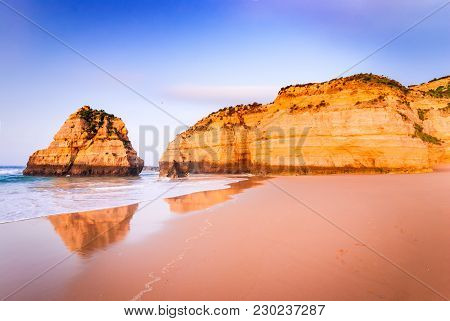 Algarve, Portugal - Praia Da Rocha, Amazing Sunrise At Atlantic Ocean, Portimao.