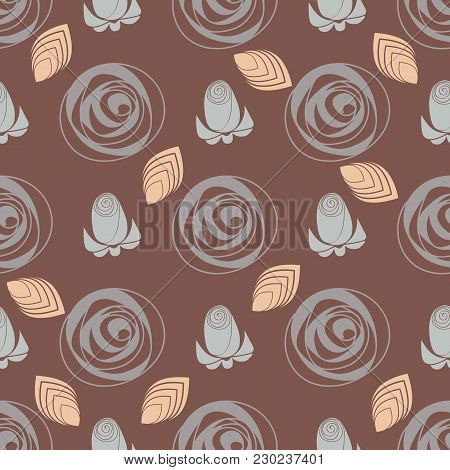 Pattern Roses. Stylized Roses Flower Outline Hand Drawing. Background For Textile, Manufacturing, Bo