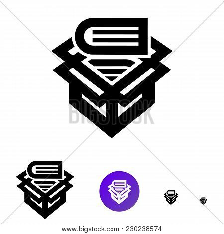 Archive Icon For Business, E-commerce. Vector Line Icon With Image Box Of Books Of Different Sizes 1