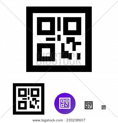 Qr Code Flat Icon. Vector Line Icon Of Different Sizes 192px, 108px, 48px, 24px For Web Design And D