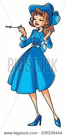 Full Length Illustration Of An Elegant Woman Wearing Vintage Blue Dress And Hat Against White Backgr