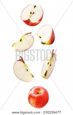 Isolated Falling Fruits. Falling Apple Isolated On White Background With Clipping Path As Package De
