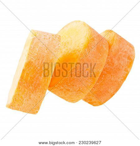 Isolated Carrot. Fresh Carrot Slices Isolated On White Background With Clipping Path As Package Desi