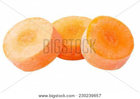 Isolated Slices Carrot. Pieces Of Carrot Isolated On White Background With Clipping Path