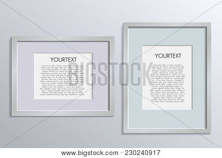 3d Picture Frame Design Vector For A4 Image Or Text. Colour Realistic Square Empty Picture Frame On