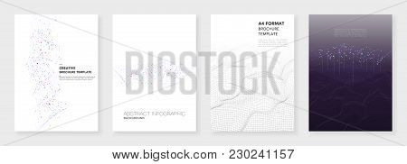 Minimal Brochure Templates. Big Data Visualization With Lines And Dots. Technology Sci-fi Concept, A