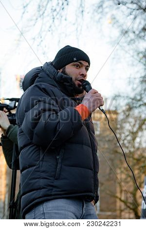 Downing Street, London, United Kingdom, 07th March 2018:- Unknown Protester Addresses The Crowd Outs