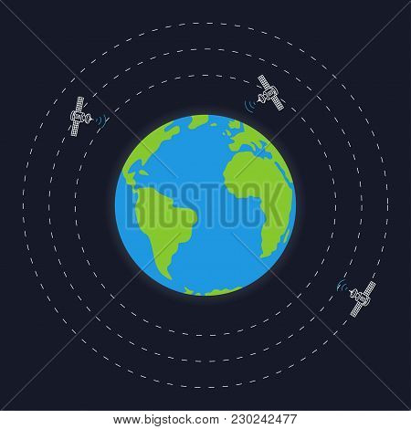 Planet Earth And Round Satellite Orbits Vector Illustration. Space Satellites Flying Around The Eart