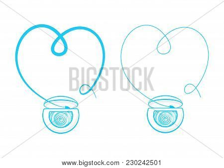 Teeth Floss String Vector Illustration. Thread For Tooth Cleaning Hygiene, Flossing Graphic Design.