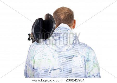 Back View Of Old Man Wearing Warm Ski Coat, Holding Skis On Isolated Background