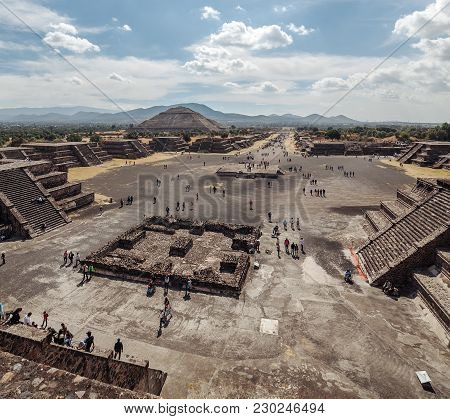 Top View On The Road Of The Dead And Piramyd Of The Sun. Teotihuacan. Mexico City. Mexico