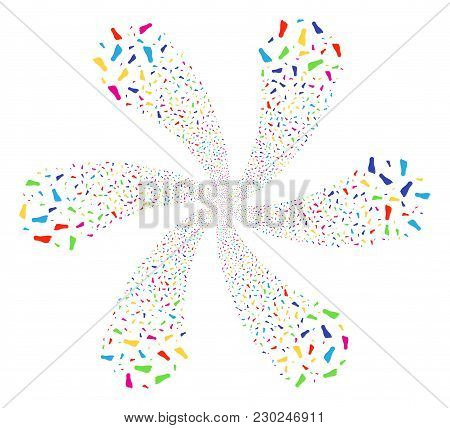 Bright Human Footprint Rotation Motion. Psychedelic Flower With Six Petals Done From Scattered Human
