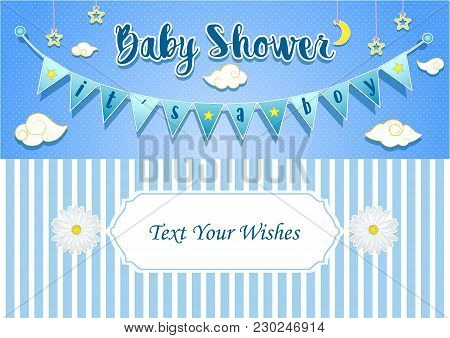 Vector Illustration Of Baby Boy Shower Invitation Card Design Template