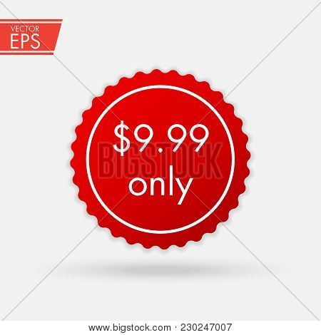 Price Discount Sticker. Sale Red Tag Isolated Vector Illustration. Discount Offer Price Label, Vecto