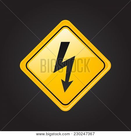 High Voltage Attention Icon. Electric Danger Symbol. Flat Vector Illustration. Vector Attention Sign