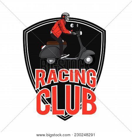 Racing Club Man Riding Vespa Background Vector Image