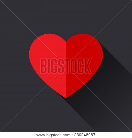 Heart Vector Icon With Shadow, Love Symbol. A Symbol Of Care And Tenderness. Valentine's Day Sign, E