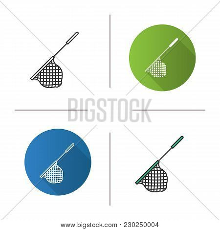 Scoop Net Icon. Flat Design, Linear And Color Styles. Fishing Gear. Hoop Net. Isolated Vector Illust