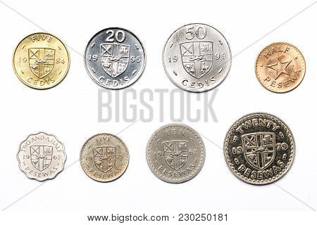 Ghanaian Coins On A White Background - Pesewa