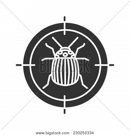 Colorado Beetle Target Glyph Icon. Potato Bug Repellent. Pest Control. Silhouette Symbol. Negative S