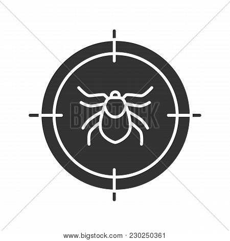 Mite Target Glyph Icon. Parasitic Insects Repellent. Silhouette Symbol. Negative Space. Vector Isola