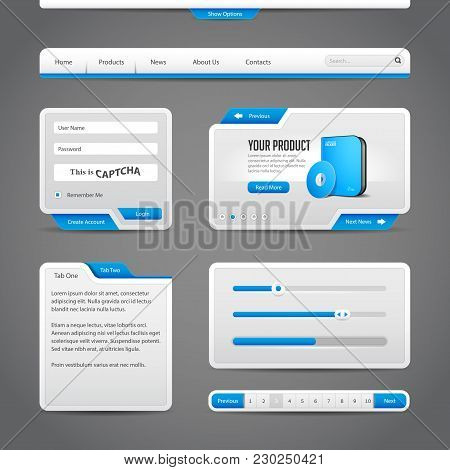 Web Ui Controls Elements Gray And Blue On Dark Background:  Search, Scroll, Download, Pagination, Ch