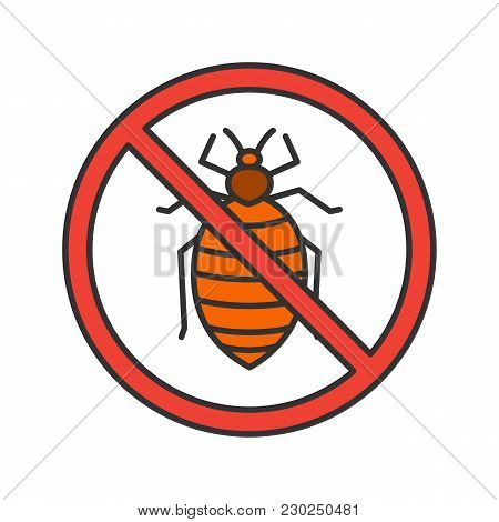 Stop Bed Bug Sign Color Icon. Parasitic Insects Repellent. Pest Control. Isolated Vector Illustratio