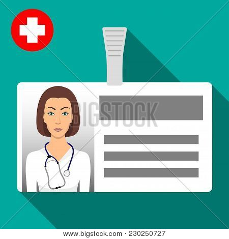 Doctor S Name Tag Badge. Plastic Horizontal Badge With Clasp. Medical Worker S Name Card Icon With S