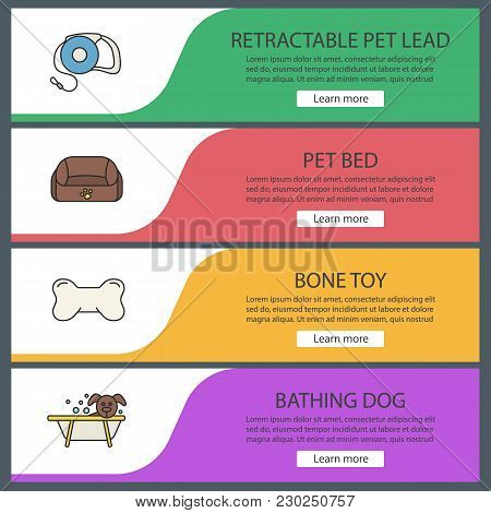 Pets Suppplies Web Banner Templates Set. Pet Lead, Animal Bed, Bone Chew Toy, Grooming. Website Colo