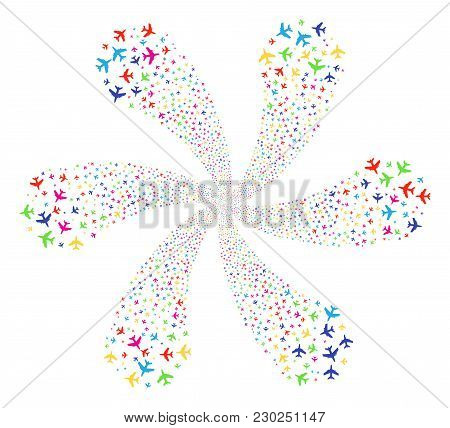 Multicolored Jet Plane Cycle Spin. Suggestive Cluster Created From Random Jet Plane Symbols. Vector
