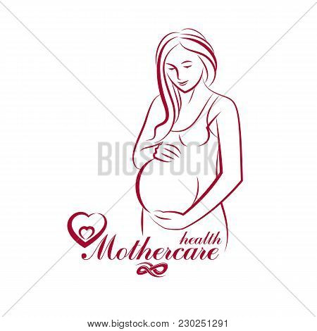 Elegant Pregnant Woman Body Silhouette Drawing. Vector Illustration Of Mother-to-be Fondles Her Bell