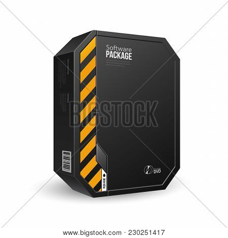 Octagon Modern Black Software Package Box With Dvd Or Cd Disk For Your Product. Vector Eps10