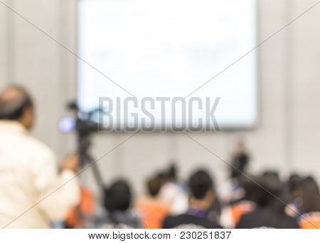 Seminar Blur Background Training Workshop Event Video Recording Camera Man, Speaker Lecturer Giving
