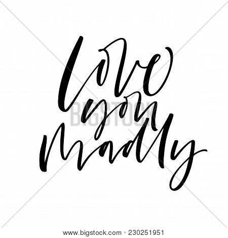 Love You Madly Phrase. Ink Illustration. Modern Brush Calligraphy. Isolated On White Background.