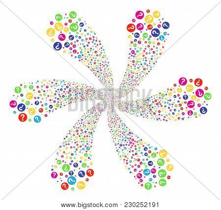 Psychedelic Query Cycle Fireworks. Suggestive Twist Created From Scattered Query Objects. Vector Ill