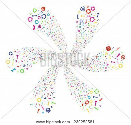 Multi Colored Repair Instruments Explosion Flower With 6 Petals. Hypnotic Spiral Composed From Rando