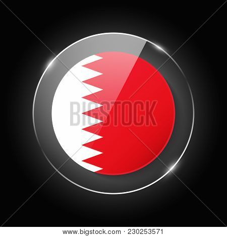Bahrain National Flag. Application Language Symbol. Country Of Manufacture Icon. Round Glossy Isolat
