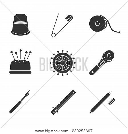 Tailoring Glyph Icons Set. Sewing Thimble, Safety And Straight Pins, Measuring Tape, Pincushion, Rot