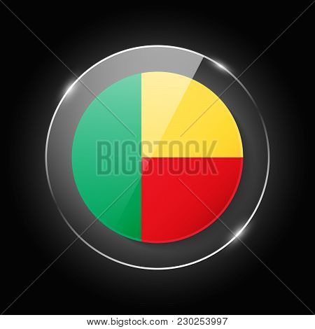 Benin National Flag. Application Language Symbol. Country Of Manufacture Icon. Round Glossy Isolated