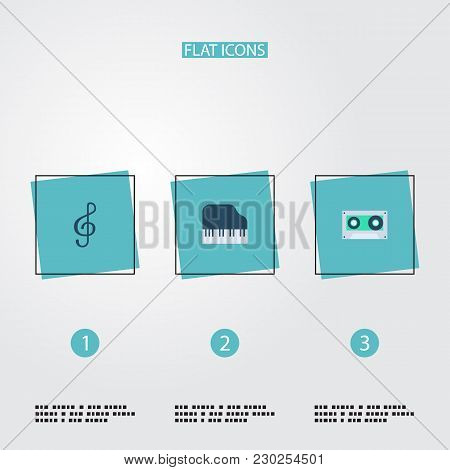 Set Of Studio Icons Flat Style Symbols With Cassette, Treble Clef, Piano Keys And Other Icons For Yo