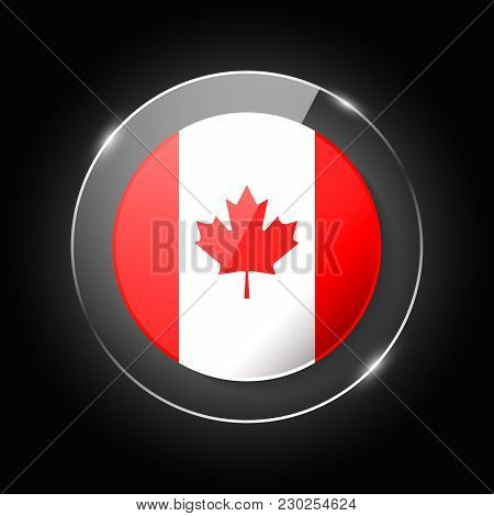 Canada National Flag. Application Language Symbol. Country Of Manufacture Icon. Round Glossy Isolate